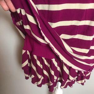 Kensie Dresses - KENSIE stripe purple / white ruffle dress